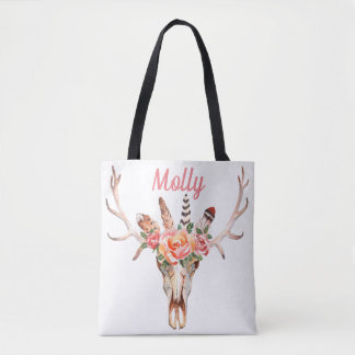BoHo Skull Watercolor Market Bag Two designs