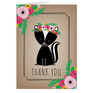 Boho Skunk Baby Shower Thank You Brown Card