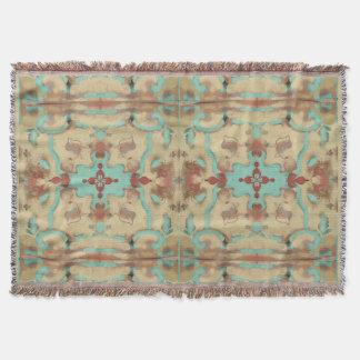 Boho Southwestern vintage deco mandala pastels Throw Blanket