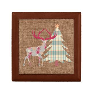 Boho Stag and Christmas Tree on Burlap Effect Gift Box
