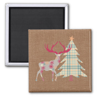 Boho Stag and Christmas Tree on Burlap Effect Magnet