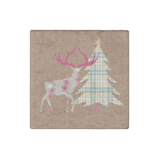 Boho Stag and Christmas Tree on Burlap Effect Stone Magnets