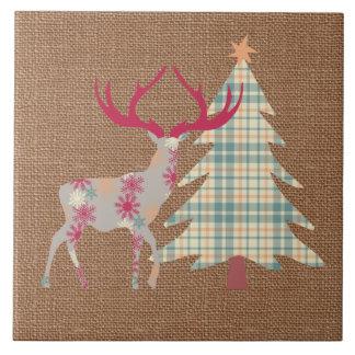 Boho Stag and Christmas Tree on Burlap Effect Tile