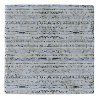 Boho stripes design indigo blue trivet