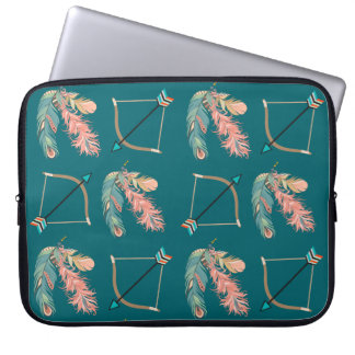 Boho Style Feather Bow and Arrow Laptop Computer Sleeve