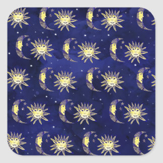 Boho sun moon and stars pattern blue watercolor square sticker