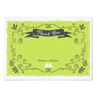 """Boho Swirls, Curls, a Banner & Lovebirds Wedding 4.5"""" X 6.25"""" Invitation Card"""