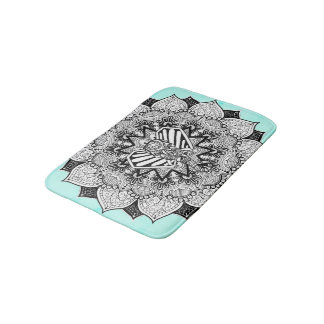 Boho Tangle Elephant and Hand Drawn Mandala Bath Mat