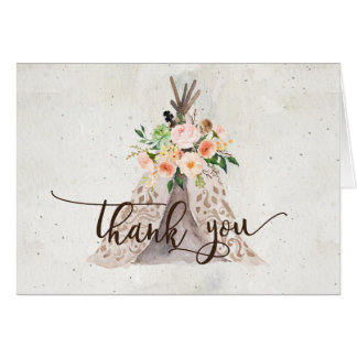 boho tee pee THank you note Card
