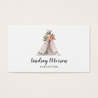 Boho Teepee Babysitter Business Cards