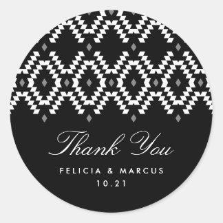 Boho Thank You sticker, black and white Classic Round Sticker
