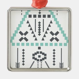 Boho Totem, Ethnic Symbol, Hippie, Aztec, Tribal Silver-Colored Square Ornament
