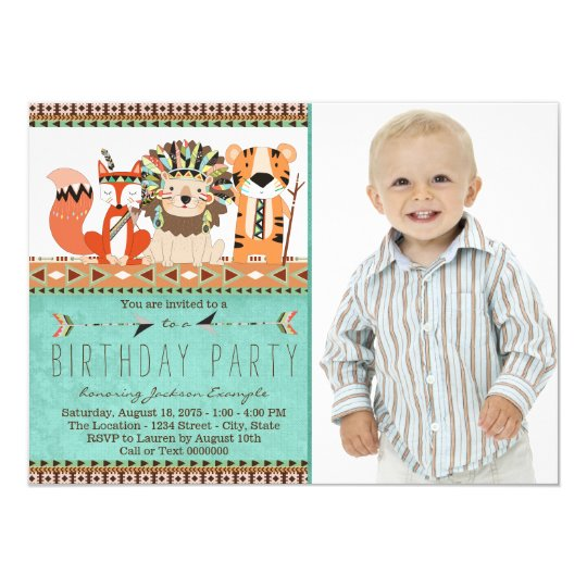 Boho Tribal Animal Birthday Party Card