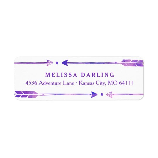 Boho Tribal Arrow Address Labels | Purple & Pink