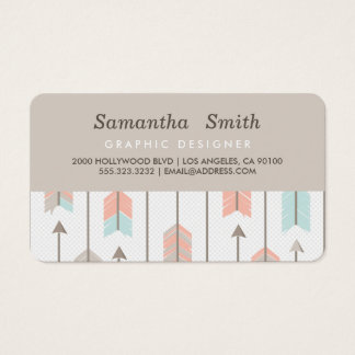 Boho Tribal Arrows Professional Pink Blue Grey Business Card