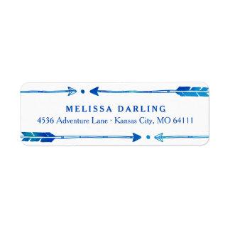 Boho Tribal Blue & Teal Arrow Address Labels