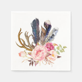Boho Tribal Chic Feathers and Roses Napkin Paper Napkins