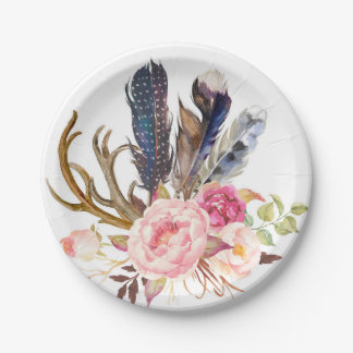 Boho Tribal Chic Feathers and Roses Paper Plate