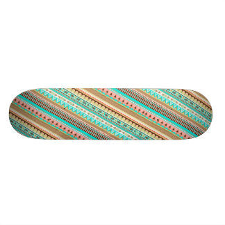 Boho Tribal Chic Geometric Stripes Skateboard