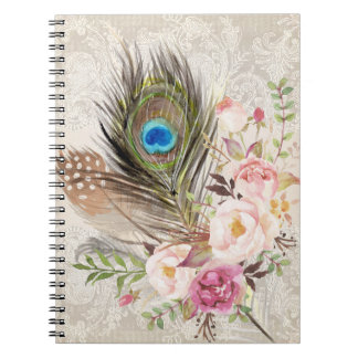 Boho Tribal Chic Peacock Feather Notebook