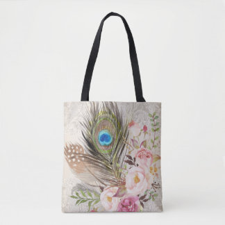 Boho Tribal Chic Peacock Feather & Roses Tote Bag