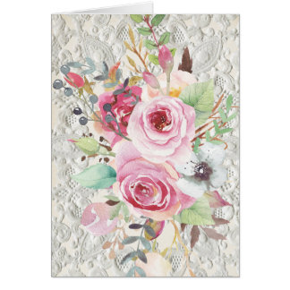 Boho Tribal Chic Roses & Lace Note Card