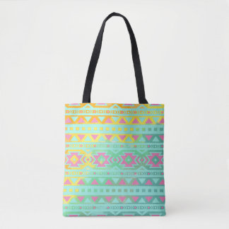 Boho Tribal Chic Watercolor Geometric Tote Bag