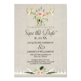 """BOHO Tribal Deer Antler Feathers Art Save the Date 5"""" X 7"""" Invitation Card"""