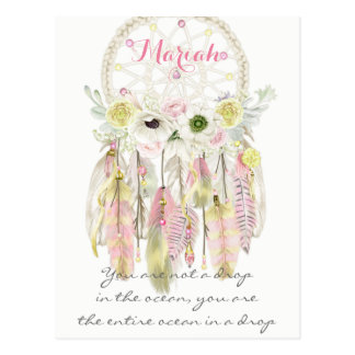 Boho Tribal Dream Catcher Feathers Flowers Native Postcard