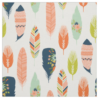 Boho Tribal Feather Fabric