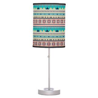 Boho Tribal Southwest Turquoise Geometric Pattern Table Lamps