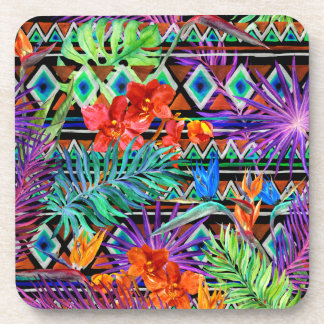 BoHo Tropical Tribal Florals Drink Coasters