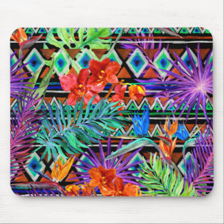 BoHo Tropical Tribal Florals Mouse Pad