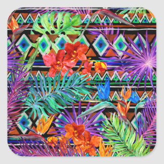 BoHo Tropical Tribal Florals Square Sticker