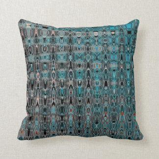 Boho Turquoise Black Grey Millefiori Zig Zag Throw Pillow