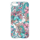 Boho turquoise pink floral watercolor illustration iPhone 8/7 case