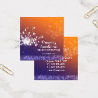 Boho Twilight Dandelions Meditation Centre Square Business Card