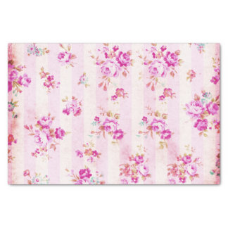 Boho vintage blush pink roses flowers stripes tissue paper