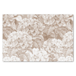 Boho vintage brown white elegant hortensia floral tissue paper