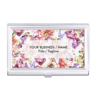 Boho vintage butterfly pink roses flowers business card holder