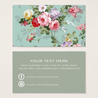 Boho vintage elegant pink red roses floral business card