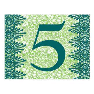 Boho Vintage Green Damask Table Number Card