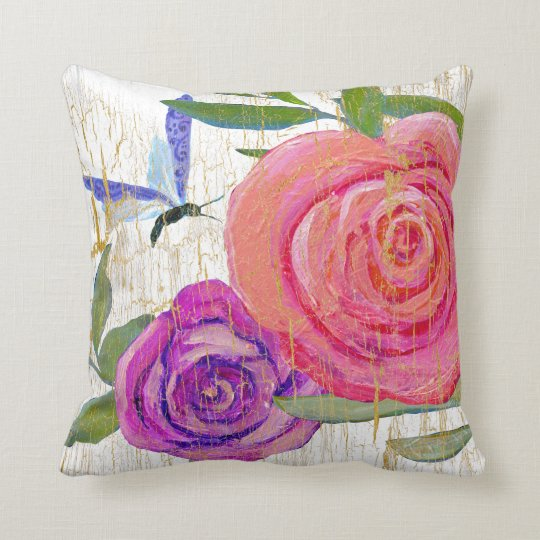 BOHO Vintage Modern Floral Crackle Butterfly Throw Pillow
