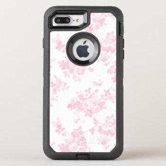 Boho vintage pastel pink elegant chic floral OtterBox defender iPhone 8 plus/7 plus case