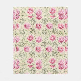 Boho vintage pink green tropical floral polka dots fleece blanket