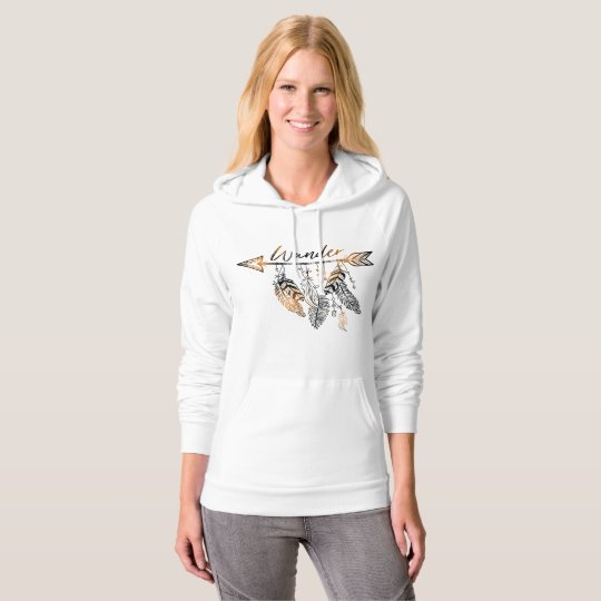 Boho Wander Arrow and Feathers | Hooded Pullover