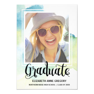 Boho Watercolor 2017 Calligraphy Photo Graduation Card