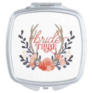 Boho Watercolor Bride Tribe Compact Mirror