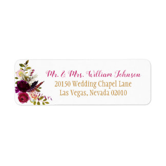 Boho Watercolor Fall Floral Bouquet Wedding Label