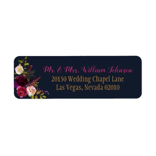 Boho Watercolor Fall Floral Bouquet Wedding Label